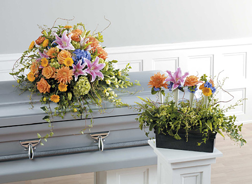 Homeward Bound Casket Spray and Arrangement
